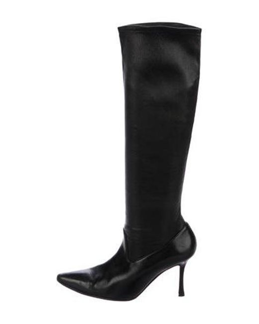 78307905575 Manolo Blahnik - Black Leather Knee-high Boots - Lyst ...