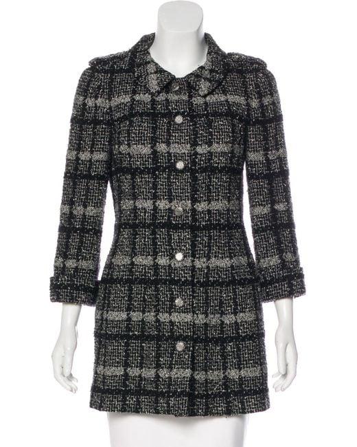 Chanel - Gray Wool Tweed Coat Black - Lyst