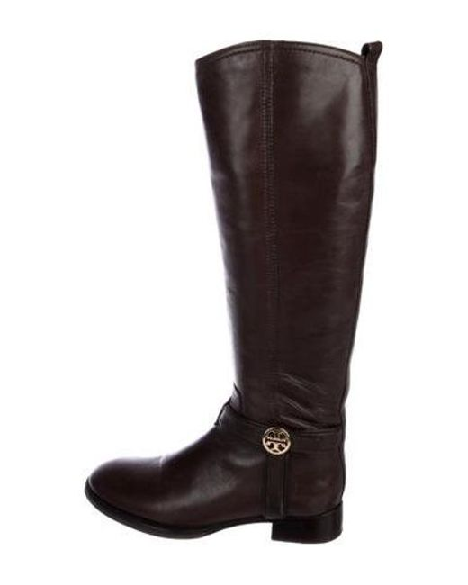 0f26703ca21269 Tory Burch - Metallic Leather Knee-high Boots Brown - Lyst ...
