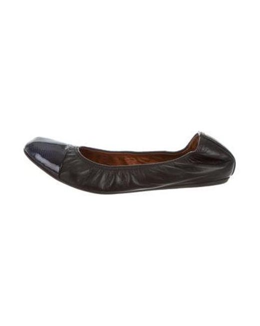 3c16f176212 Lanvin - Black Leather Cap-toe Ballet Flats - Lyst ...