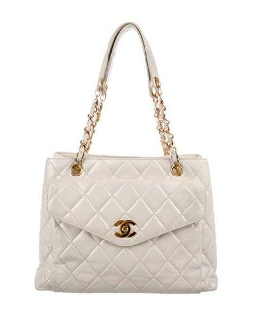 1422e22ffb04 Chanel - Metallic Vintage Lambskin Cc Tote White - Lyst ...