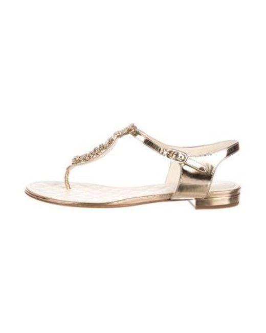 1e4f479e21b Chanel - Metallic Crystal Cc T-strap Sandals - Lyst ...