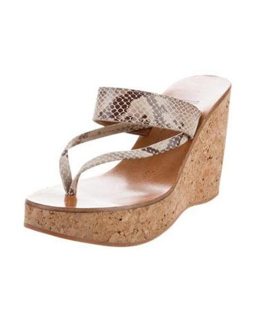 167fcb2cfa78 ... K. Jacques - Gray Embossed Wedge Sandals Grey - Lyst ...