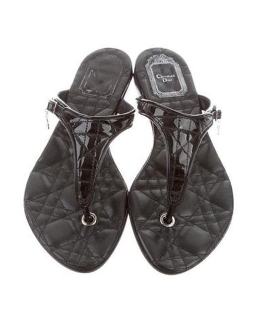 1816dc69a3262e ... Dior - Metallic Patent Leather Cannage Sandals Black - Lyst ...