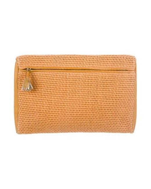 06260fdf13 Bottega Veneta - Natural Woven Zip Clutch Brass - Lyst ...