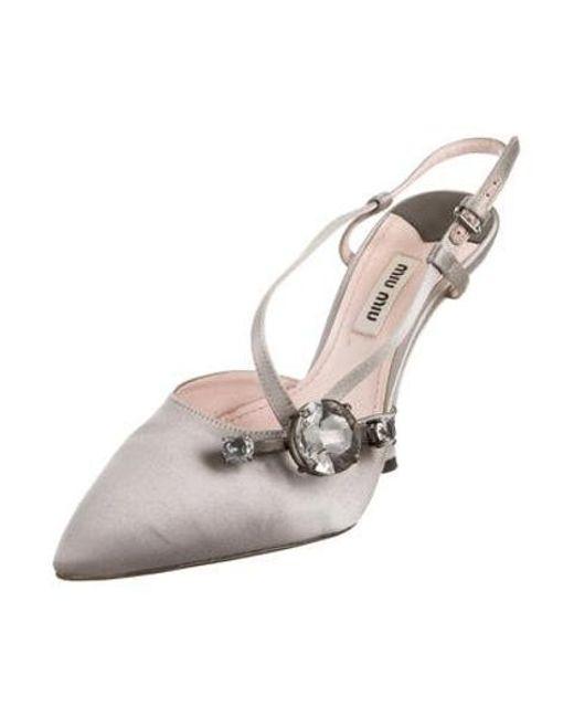 0a705d49d ... Miu Miu - Gray Miu Satin Embellished Slingback Pumps Grey - Lyst ...