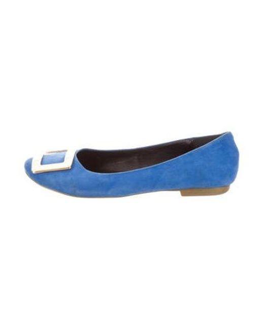 71d9d8810 Roger Vivier - Metallic Suede Ballet Flats Blue - Lyst ...
