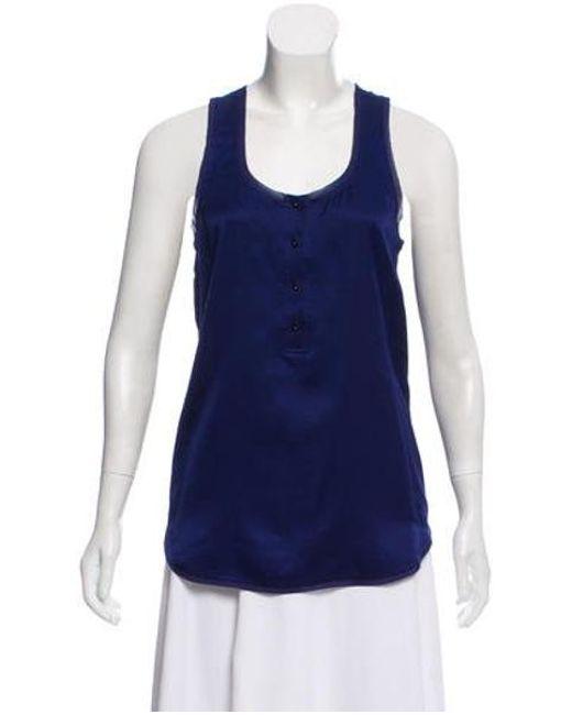 a9c166aa6f154 Diane von Furstenberg - Blue Sleeveless Silk Top Navy - Lyst ...
