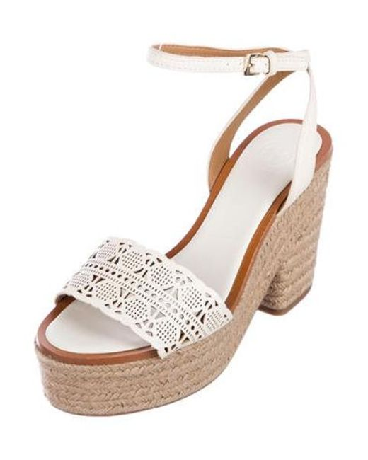 c67a82095827 ... Tory Burch - White Leather Espadrille Flats - Lyst ...