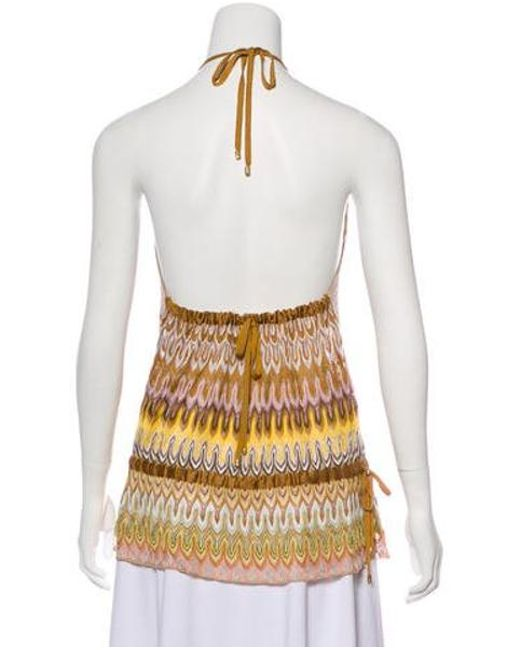 Lyst - Missoni Knit Halter Top Yellow in Metallic
