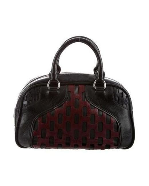 08baa761128 ... Miu Miu - Metallic Miu Bicolor Leather Bowler Bag Black - Lyst