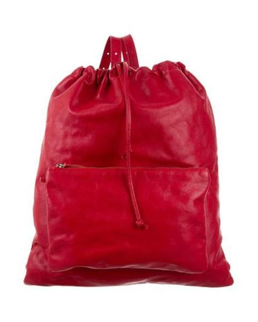 MM6 by Maison Martin Margiela - Metallic By Martin Leather Drawstring Backpack Red - Lyst