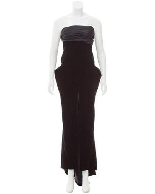 Lyst - Dior Velvet Strapless Gown in Black