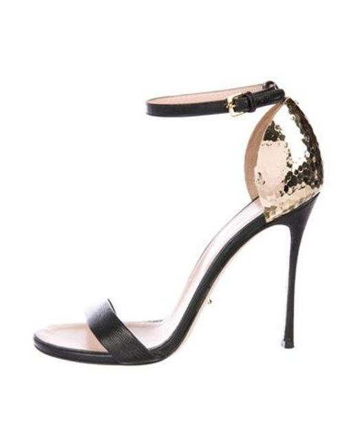0b329a728ef Sergio Rossi - Metallic Leather Ankle-strap Sandals Black - Lyst ...