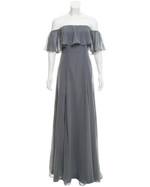 Monique Lhuillier Bridesmaids - Gray Ruffle-trimmed Off-the-shoulder Gown W/ Tags Blue - Lyst