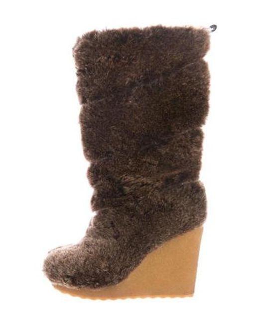 8dae248606730 Tory Burch - Brown Faux-fur Mid-calf Boots - Lyst ...