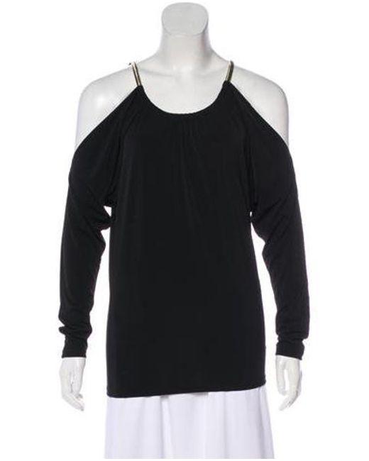 13f3e30aef44f MICHAEL Michael Kors - Metallic Michael Kors Off-shoulder Long Sleeve Top  Black - Lyst ...
