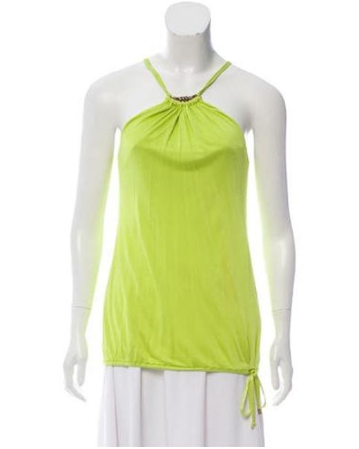 Roberto Cavalli - Green Sleeveless Embellished Top Lime - Lyst