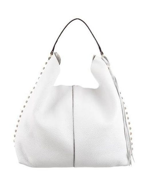 Rebecca Minkoff - Metallic Grained Leather Hobo White - Lyst ... 1dbba5887c