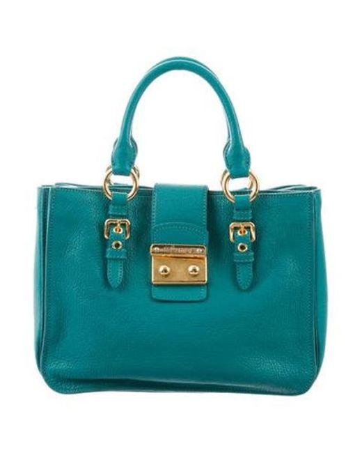 6a59f7974f32 Miu Miu - Metallic Miu Grained Leather Shoulder Bag Turquoise - Lyst ...
