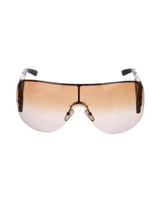 5f0bed9f49d1 Dior - Metallic Oversize Shield Sunglasses Gold - Lyst ...