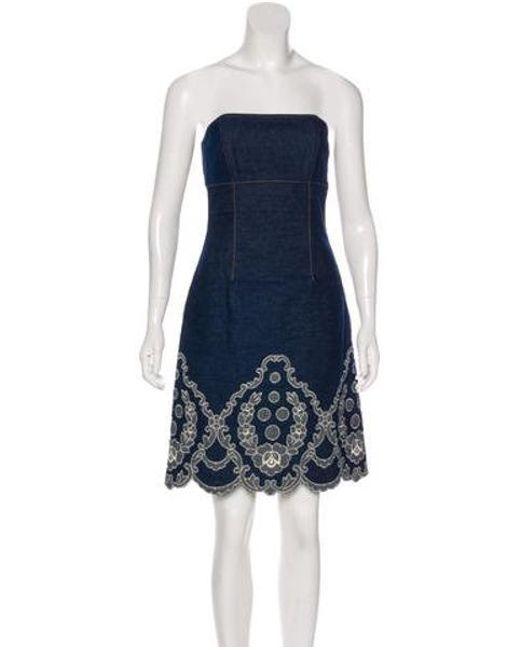 1d83dd8aad1 Anna Sui - Blue Strapless Dress - Lyst ...