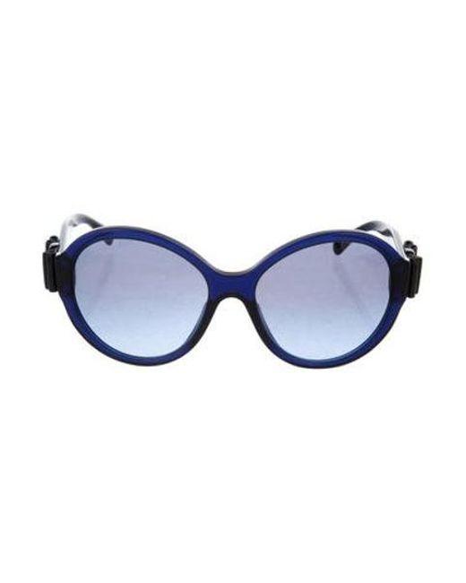 969fa2385cdc Chanel - Metallic Round Bow Sunglasses Blue - Lyst ...