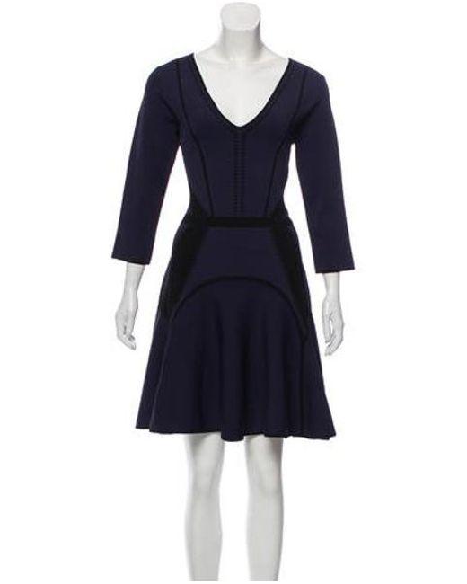 d54af0258ae Diane von Furstenberg - Blue Long Sleeve Patterned Dress Navy - Lyst ...
