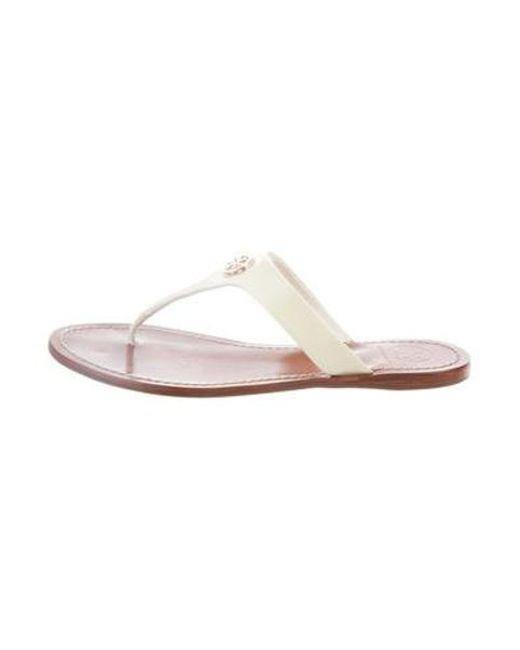2d7a36db0e3a Tory Burch - Metallic Thong Slide Sandals White - Lyst ...
