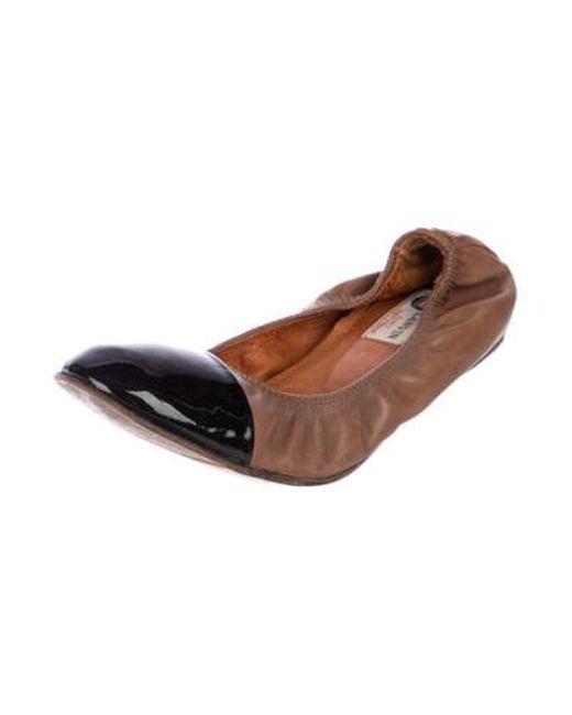 f3a9e5a0818 ... Lanvin - Brown Leather Cap-toe Flats - Lyst ...