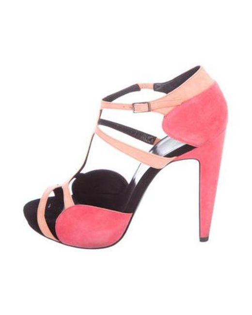 d6c6621656b Pierre Hardy - Pink Suede Cage Sandals Coral - Lyst ...
