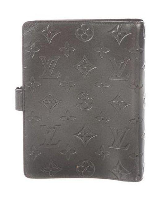 6c3c334b2ac5 ... Louis Vuitton - Metallic Monogram Mat Medium Ring Agenda Cover Grey -  Lyst ...