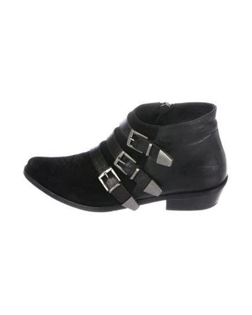 3b1b159b5f782d Anine Bing - Black Pointed-toe Suede Ankle Boots - Lyst ...