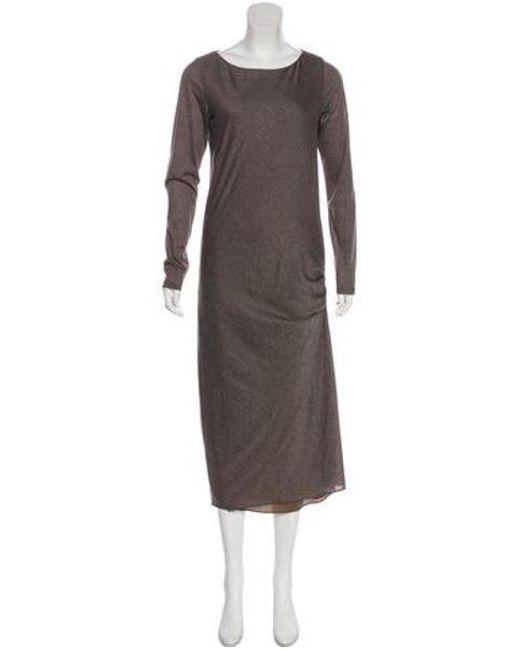 e09d36915f589 Brunello Cucinelli - Brown Wool Maxi Dress - Lyst ...