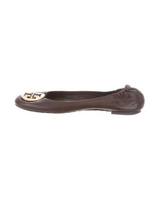 9977846a6b427 Tory Burch - Metallic Leather Ballet Flats Brown - Lyst ...