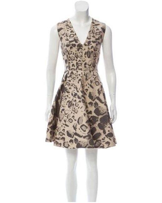 ead4bc6ed8 Giambattista Valli - Brown Sleeveless Animal Print Dress - Lyst ...