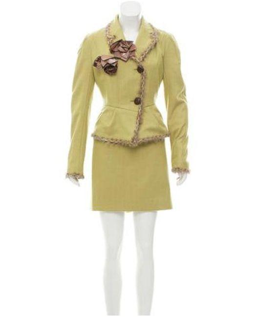 John Galliano - Green Fur-trimmed Wool Skirt Suit W/ Tags - Lyst