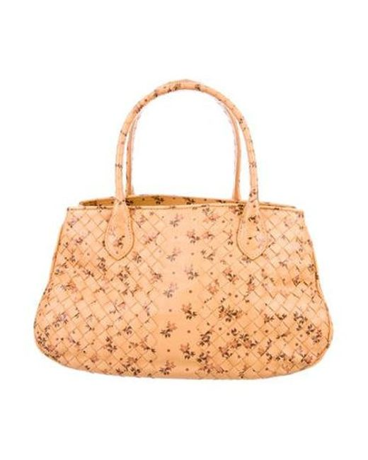 43f4621cfa07 Bottega Veneta - Natural Intrecciato Floral Handle Bag Tan - Lyst ...