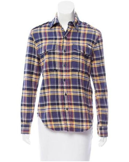 Mother - Blue Plaid Button-up Top W/ Tags - Lyst