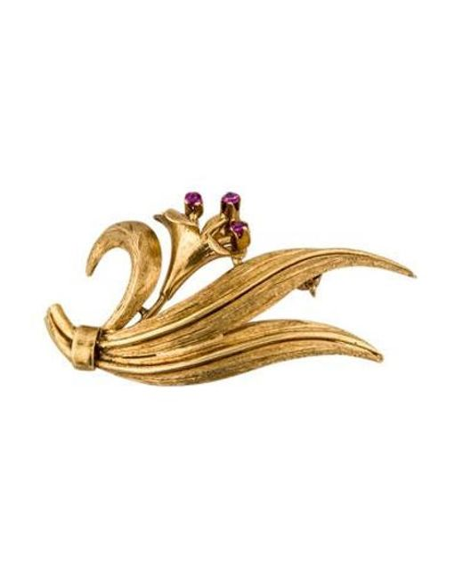 Tiffany & Co - Metallic 18k Ruby Flower Brooch Yellow - Lyst
