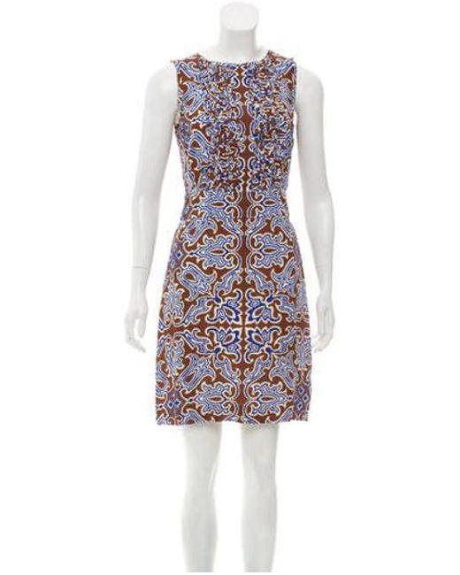 be5a7e217e394d Tory Burch - Brown Silk Mini Dress - Lyst ...