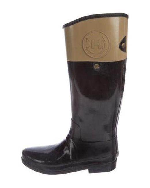 736738f1fdfb01 Hunter - Metallic Bicolor Knee-high Rain Boots Black - Lyst ...