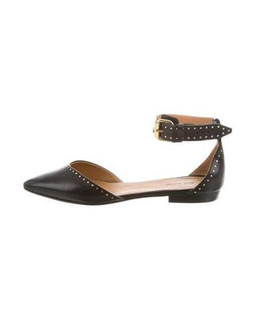2f98a371bdaf Isabel Marant - Metallic Embellished Leather Flats Black - Lyst ...