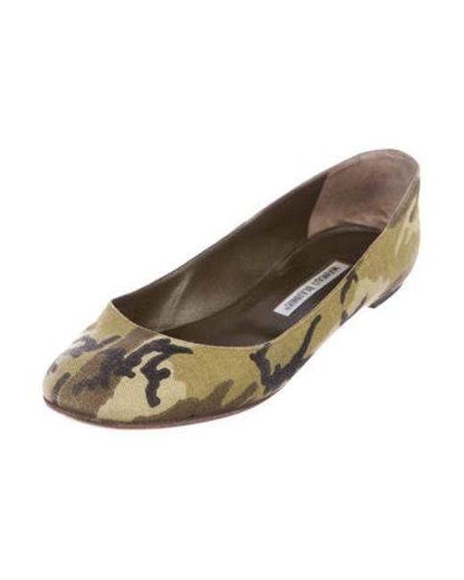 9842b0415 ... Manolo Blahnik - Green Round-toe Camouflage Flats - Lyst ...