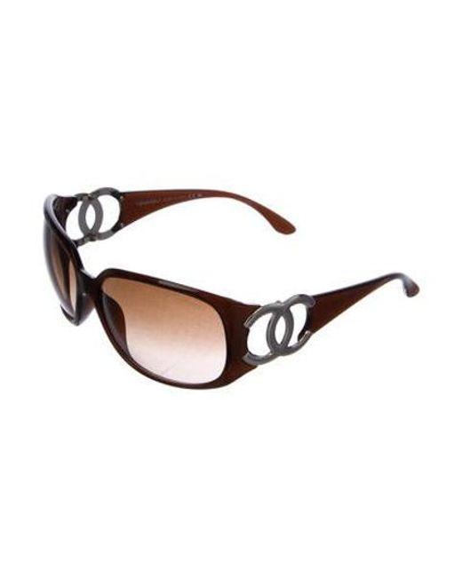 a5b9def2f22 ... Chanel - Metallic Square Cc Sunglasses Brown - Lyst ...
