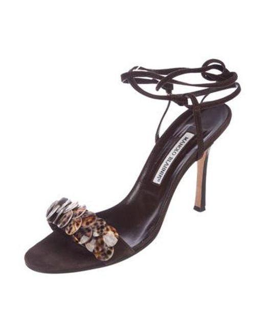 0cfaecf3bd7a ... Manolo Blahnik - Brown Suede Embellished Sandals - Lyst ...