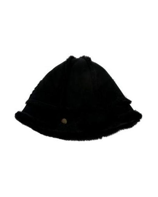 Ugg - Brown Shearling-trimmed Suede Hat - Lyst