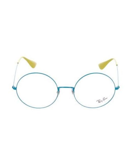 50e2d0df589 ... official store ray ban yellow metal round eyeglasses blue lyst . bedaf  367cf