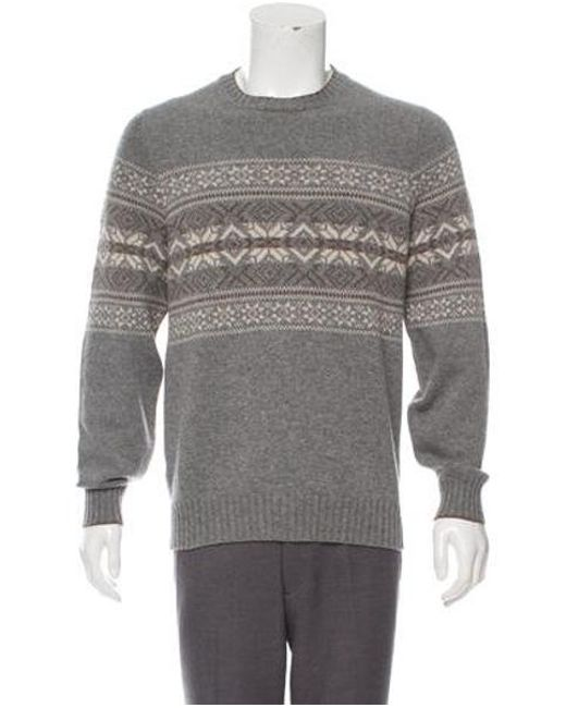 b952dacb1d Brunello Cucinelli - Gray Cashmere Intarsia Sweater Grey for Men - Lyst ...