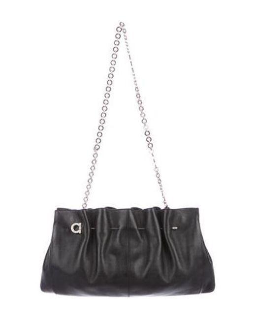 1f436fdb681 Ferragamo - Metallic Gathered Leather Shoulder Bag Black - Lyst ...